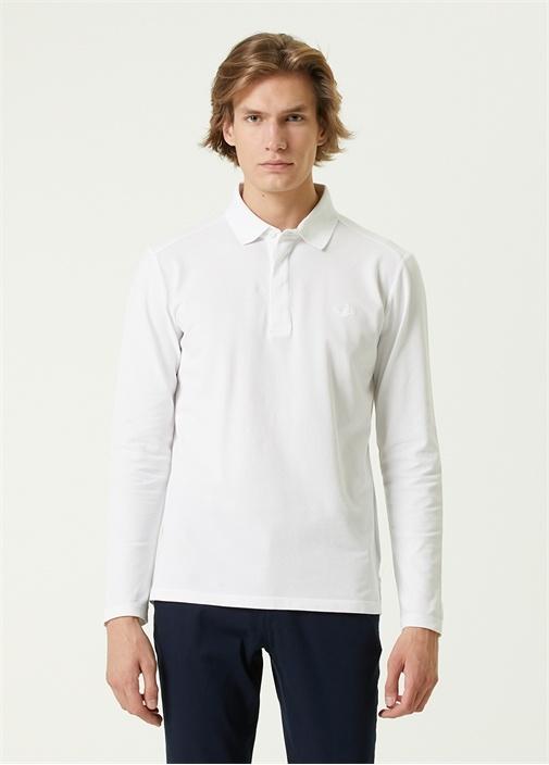 Comfort Fit Beyaz Polo Yaka Uzun Kollu T-shirt