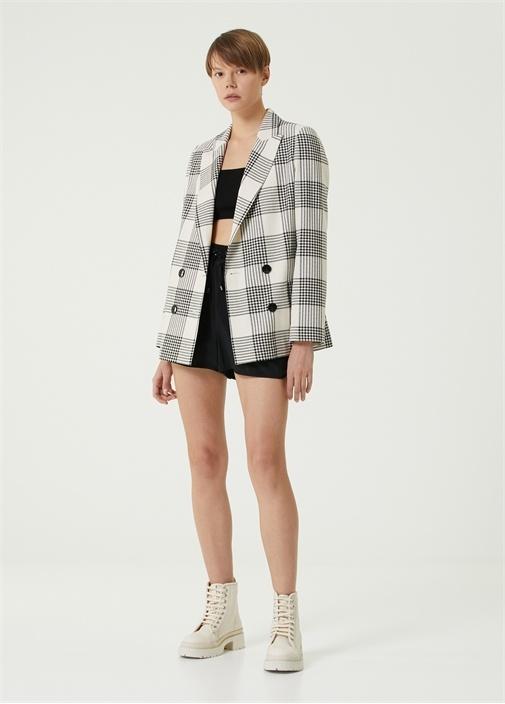 Siyah Beyaz Kareli Blazer