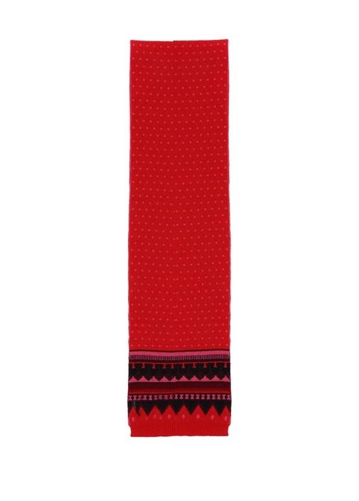 Kırmızı Geometrik Jakarlı Puanlı Kadın Yün Atkı