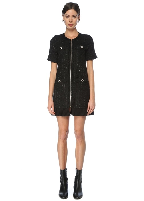 Siyah Pilili Garnili Mini Tweed Elbise