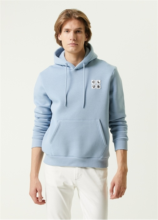 Mavi Kapüşonlu Logo Nakışlı Sweatshirt
