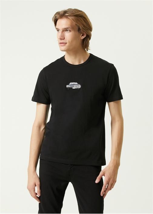 Siyah Araba Nakışlı T-shirt