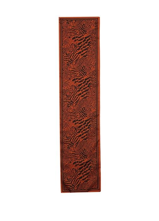 Turuncu Leopar Desenli Kadın İpek Fular