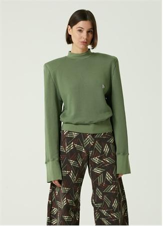 The Attico Kadın Yeşil Geniş Kollu Logolu Sweatshirt XS EU