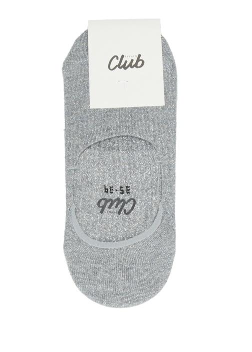 Gri Logo Jakarlı Kadın Çorap