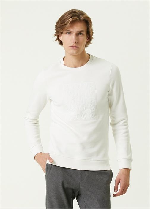 Beyaz Monogram Kapitoneli Sweatshirt