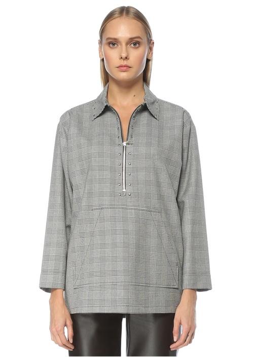 Siyah Ekoseli Yakası Troklu Uzun Kol Bluz