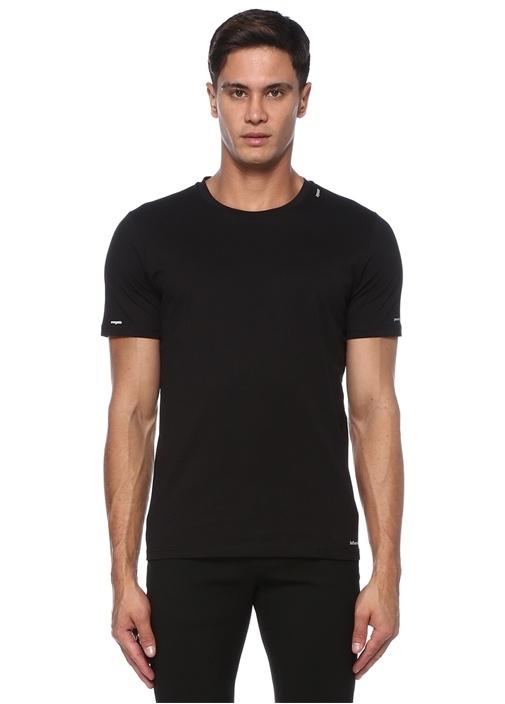 Siyah Slogan Baskılı Basic T-shirt