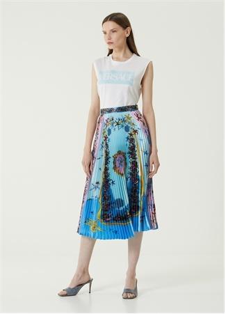 Versace Kadın Mavi Desenli Pilili Midi Etek 42 IT