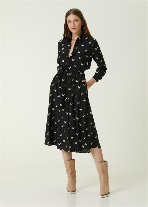 Siyah Logolu Midi İpek Gömlek Elbise