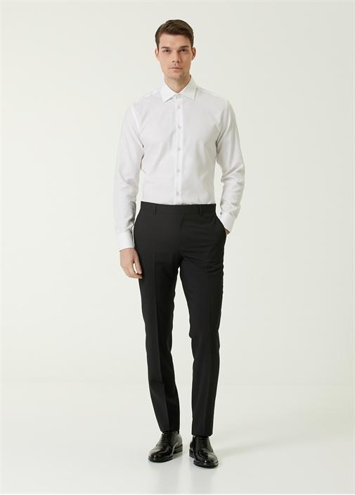 Siyah Klasik İnce Yün Pantolon