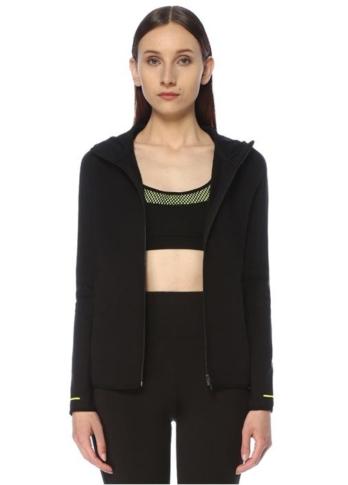 Siyah Kapüşonlu Neon Biye Detaylı Sweatshirt