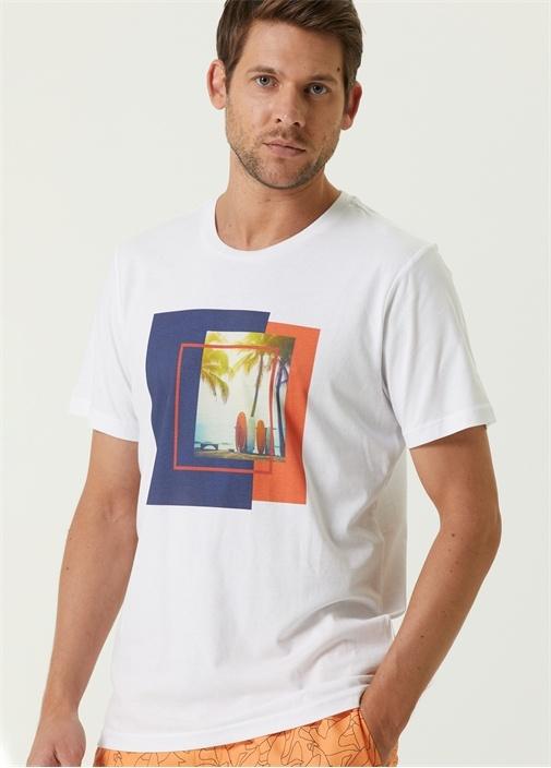 Beyaz Surf Palmiye Baskılı T-shirt