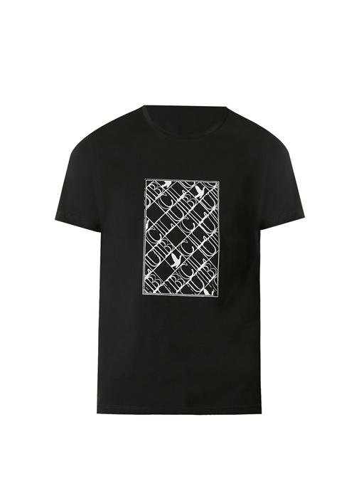 Siyah Panel Logo Baskılı T-shirt