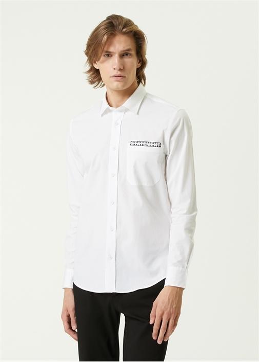 Slim Fit Beyaz Slogan Detaylı Poplin Gömlek