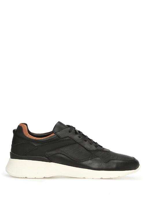Perfore Siyah Garnili Erkek Deri Sneaker