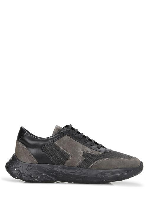 Siyah Garnili Kalın Tabanlı Kadın Deri Sneaker