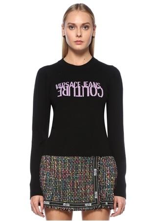 Versace Jeans Couture Kadın Siyah Logo Jakarlı Yün Kazak XS EU