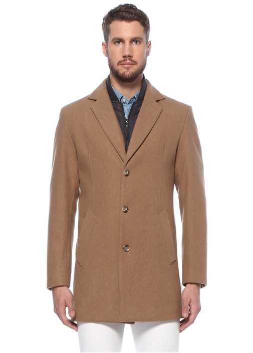 Kamel Yaka Detaylı Yün Palto