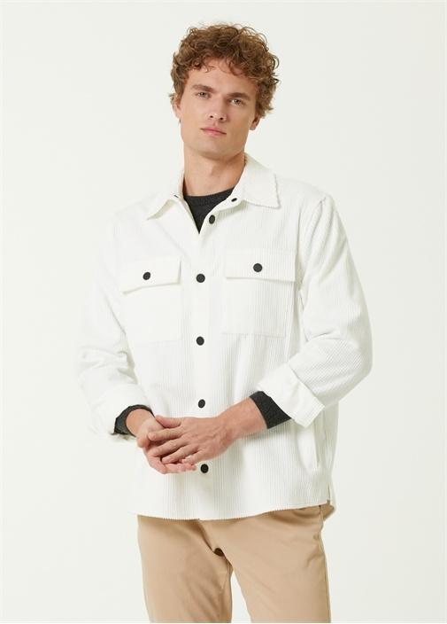 Beyaz Fitilli Kadife Dış Gömlek