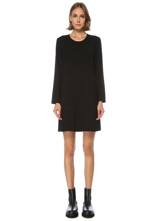 Siyah Pilili Uzun Kol Mini Krep Elbise