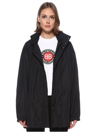 Balenciaga Kadın Siyah Kapüşonlu Logo Baskılı Yağmurluk 34 FR