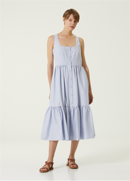 Lila Kare Yaka Midi Elbise