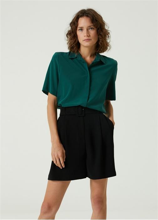 Yeşil Polo Yaka İpek Gömlek