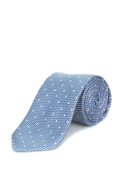 Mavi Puantiye Desenli İpek Kravat
