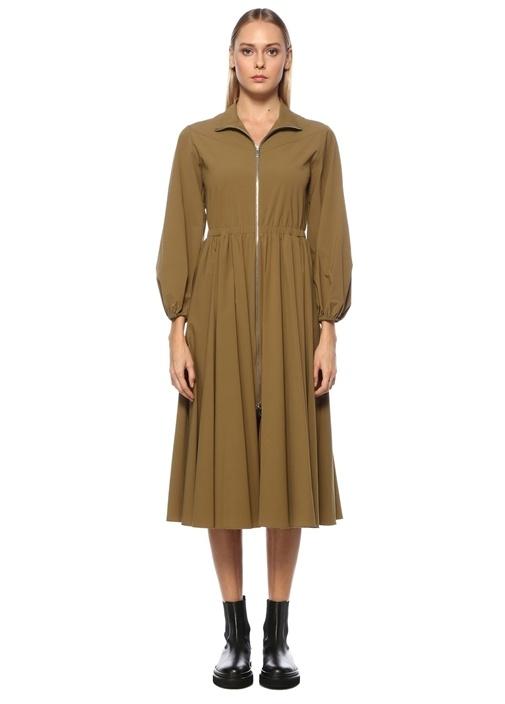 Haki Fermuarlı Balon Kol Midi Elbise