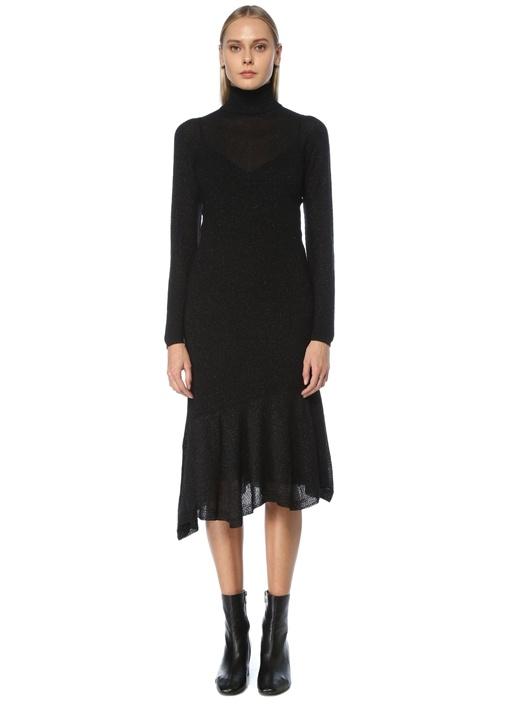 Siyah Balıkçı Yaka Simli Midi Triko Elbise
