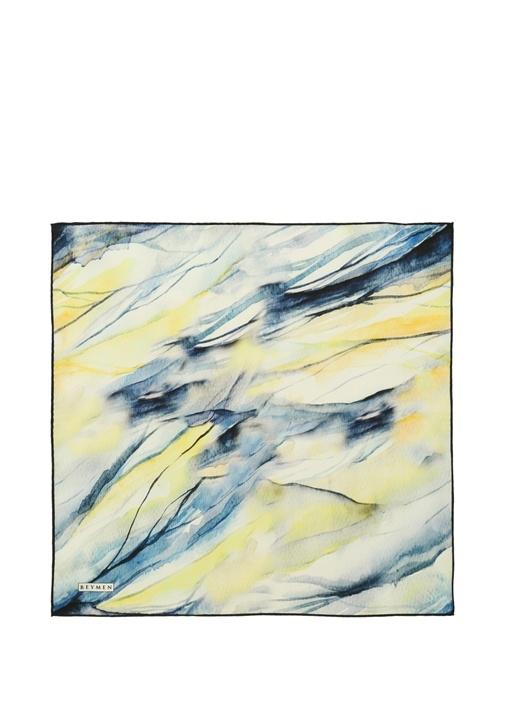 Mavi Sarı Batik Desenli Kadın İpek Fular
