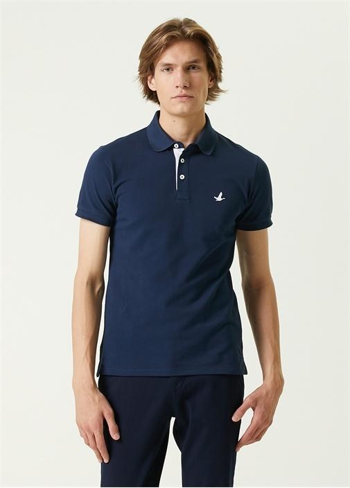Slim Fit Lacivert Melanj Polo Yaka T-shirt
