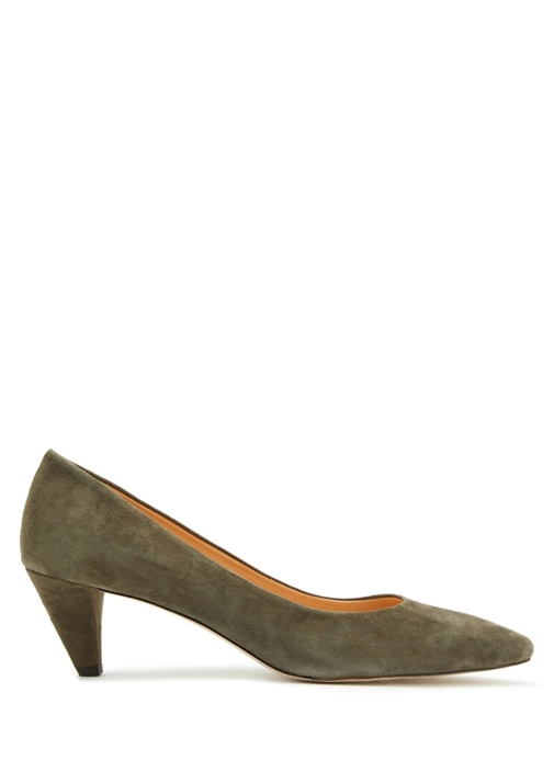 Haki Süet Topuklu Ayakkabı