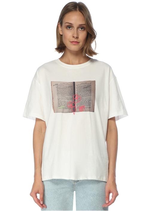 Oversize Beyaz Kitap Baskılı T-shirt