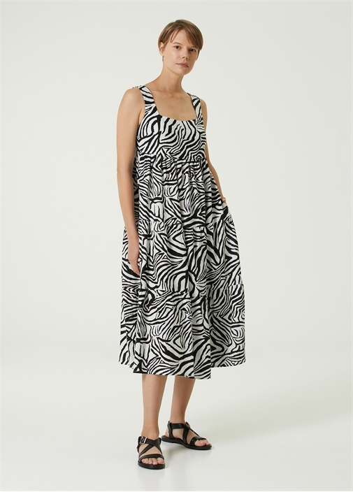 Kare Yaka Zebra Desenli Midi Keten Elbise