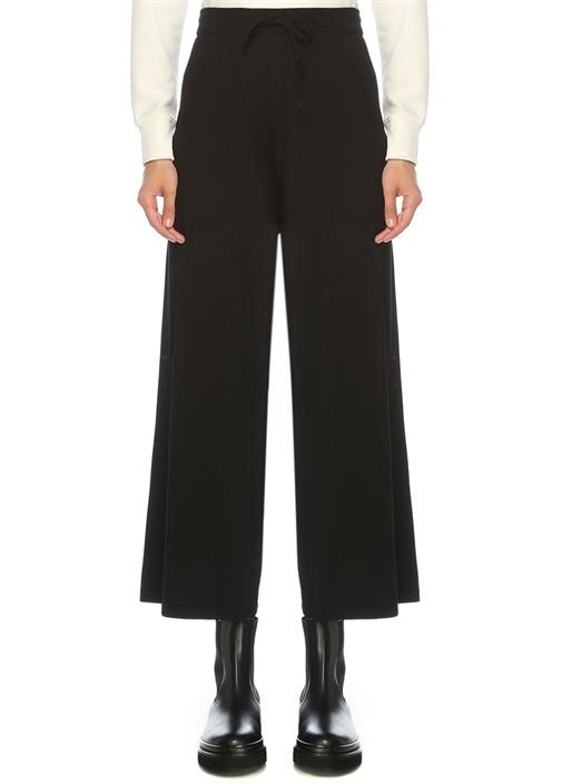 Siyah Pilili Culotte Triko Pantolon