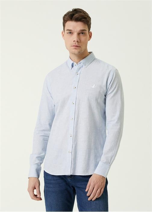 Slim Fit Mavi Düğmeli Yaka Keten Gömlek