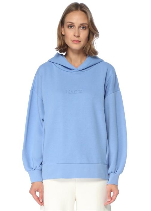 Oversize Mavi Kapüşonlu Sweatshirt
