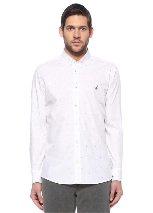 Slim Fit Beyaz Desenli Gömlek