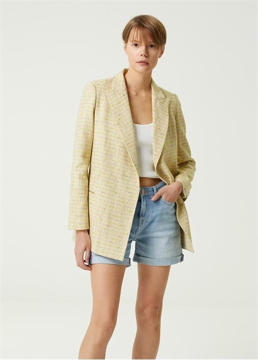 Sarı Kruvaze Tweed Blazer