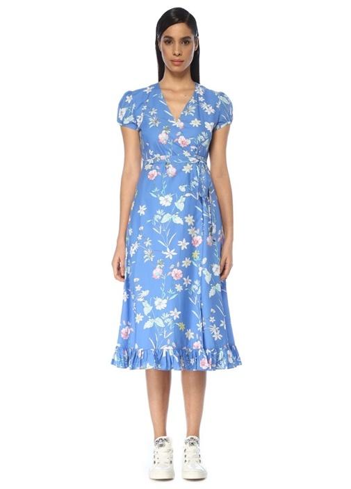Mavi V Yaka Çiçekli Midi Anvelop Poplin Elbise