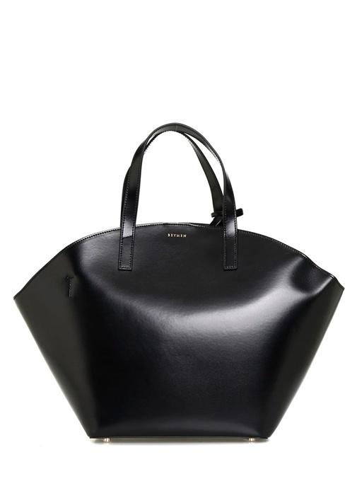 Milano Siyah Logolu Kadın Deri Alışveriş Çantası