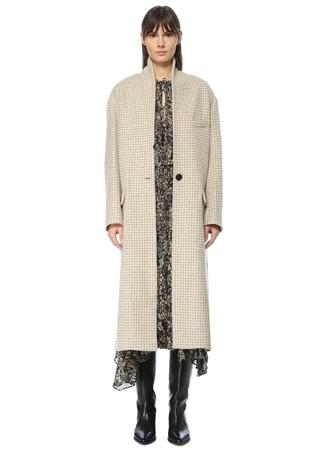 Etoile Isabel Marant Kadın Ekru Gri Kazayağı Desenli Yün Palto Bej 34 FR