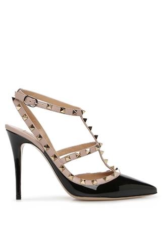 Valentino Garavani Kadın Rockstud Caged Siyah Altın Rengi Rugan Topuklu Ayakkabı 36 EU