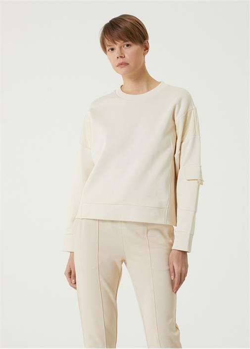 Ekru Garni Detaylı Sweatshirt