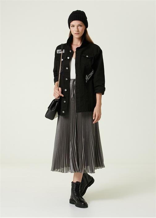Oversize Siyah Patch Detaylı Jean Ceket