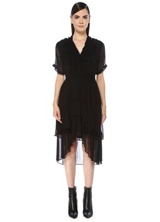 The Kooples Kadın Siyah V Yaka Volan Detaylı Asimetrik Midi Elbise 2 US