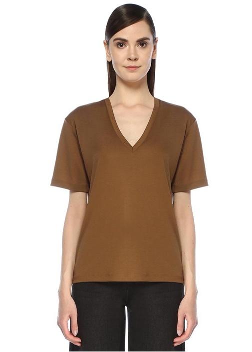 Haki Parlak Tensel Basic T-shirt