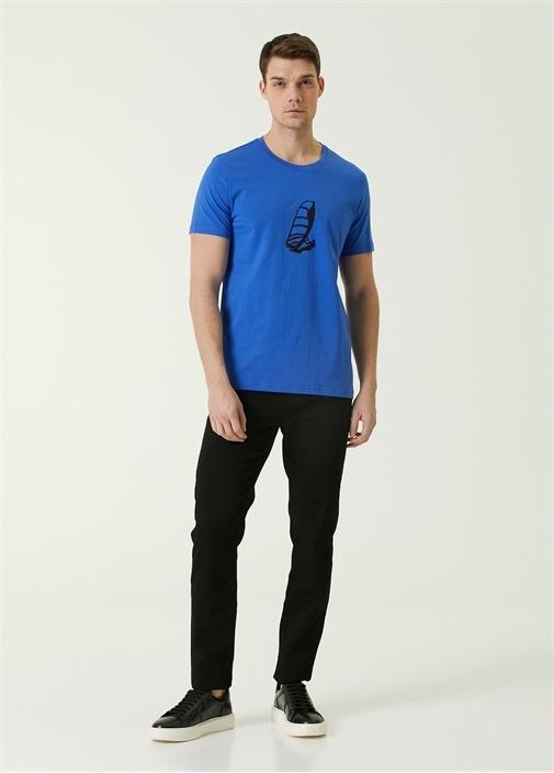 Mavi Bisiklet Yaka Baskılı T-shirt